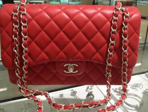 Chanel Red Classic Flap Jumbo Bag 2013