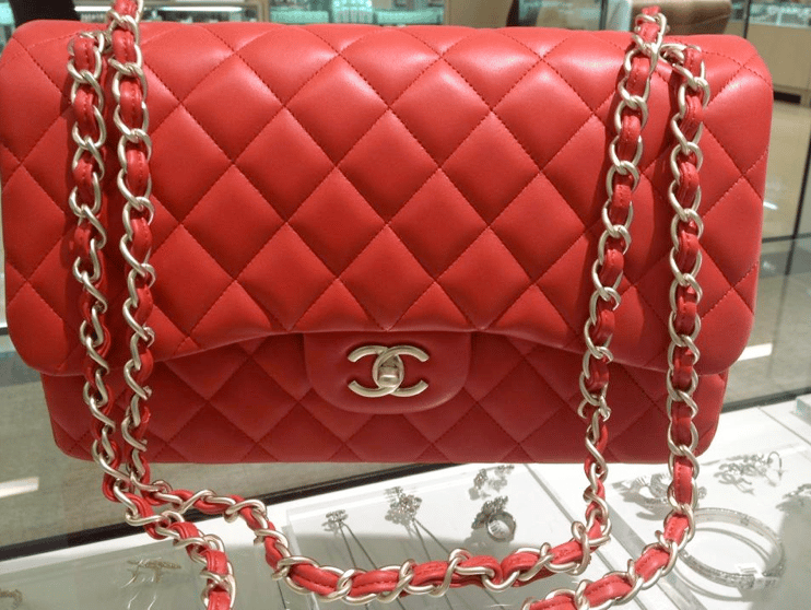 1f5da7328b3 Chanel Red Classic Flap Jumbo Bag 2013