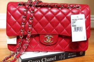 Chanel Red Classic Flap Medium Bag 2012