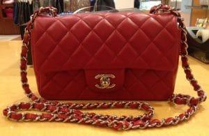 Chanel Red Classic Flap Mini Bag 2013