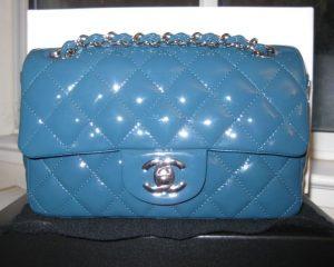 Chanel Turquoise Patent Classic Flap Mini Bag 2011