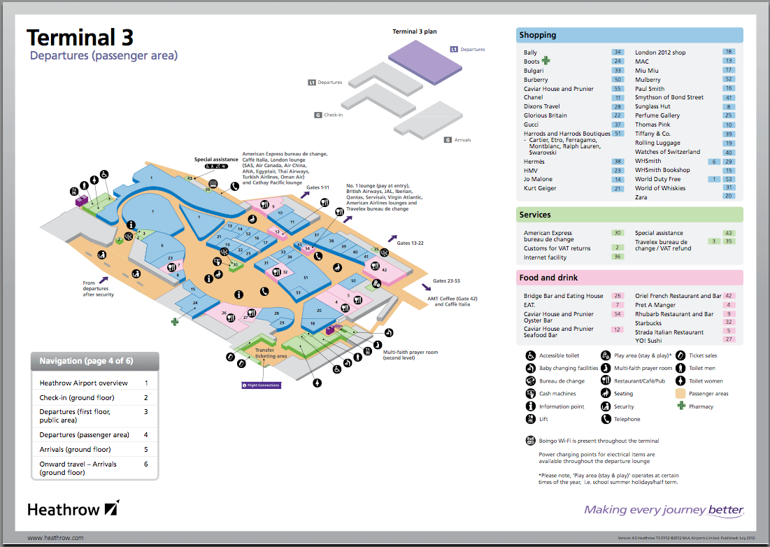 This is an example map of terminal 3 at heathrow, it is important to check ahead and plan when flying with a disability