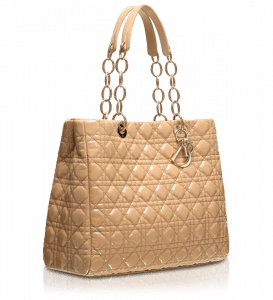 Dior Beige Patent Soft Shopping Tote Bag Large