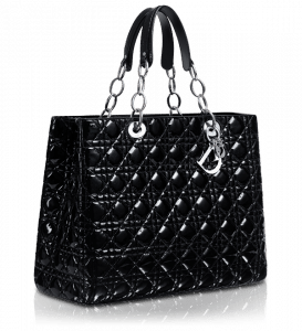 Dior Black Patent Soft Large Shopping Tote Bag