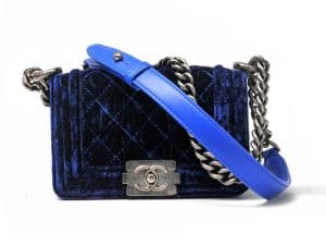 chanel blue velvet boy bag