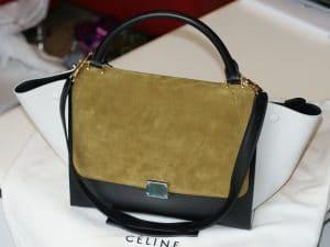 Celine Khaki Tricolor Trapeze Bag