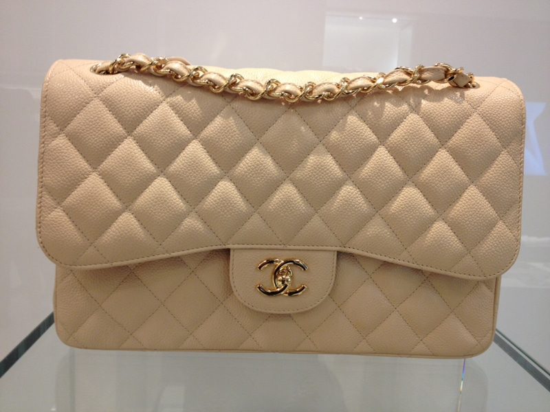 Chanel Beige Classic Flap Jumbo Bag 2017