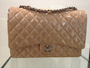 Chanel Beige Patent Classic Flap Maxi Bag 2013