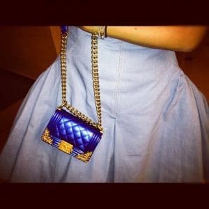 Miroslava Duma with Chanel Blue Boy bag from cruise 2013 collection