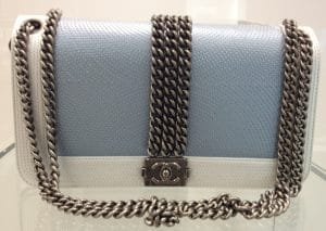 Chanel Blue And White Rock Boy Bag 2013