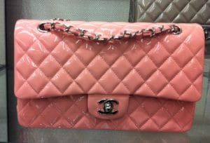 Chanel Dark Pink Patent Classic Flap Medium Bag 2013