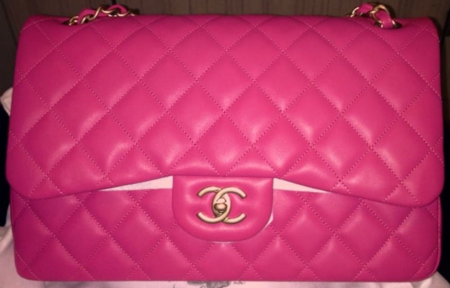 Chanel Pink Classic Flap Jumbo Bag 2017