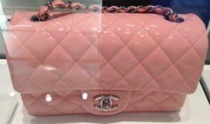 Chanel Pink Patent Classic Flap Mini Bag 2013