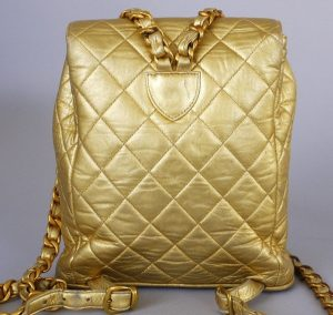 Chanel Vintage Gold Lambskin Backpack - back