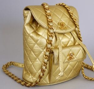 Chanel Vintage Gold Lambskin Backpack