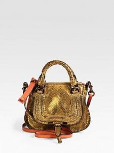 Chloe Copper Metallic Python Mini Marcie Bag
