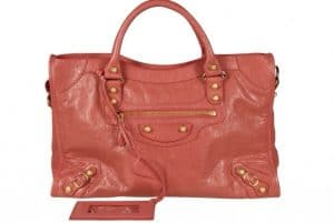 Balenciaga Rose Corail G12 Gold City Bag