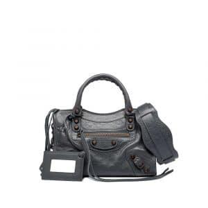 Balenciaga Gris Tarmac Classic Mini City Bag