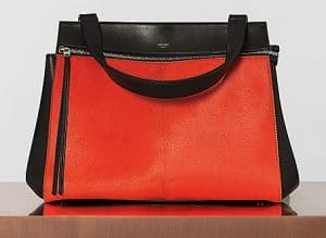 Celine Bright Orange Pony Calfskin Edge Medium Bag