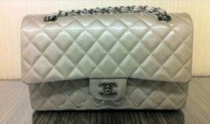 Chanel Beige Patent Classic Medium Flap Bag