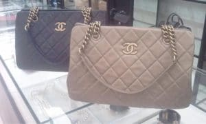 Chanel Black and Beige CC Crown Tote Large Bags