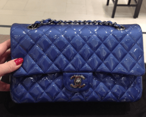 Chanel Blue Patent Classic Flap Small Bag