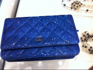 Chanel Blue Patent Classic Quilted WOC Bag