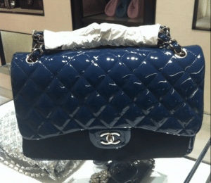 Chanel Blue Patent Classic Small Flap Bag