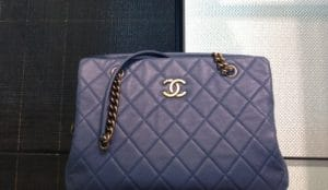 Chanel Dark Blue CC Crown Tote Large Bag