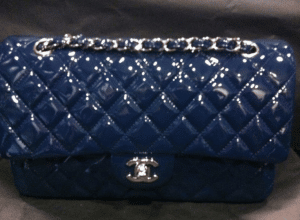 Chanel Dark Blue Patent Classic Small Flap Bag