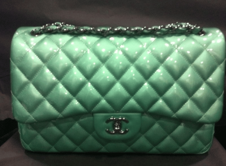 chanel green patent classic mini flap bag � spotted fashion