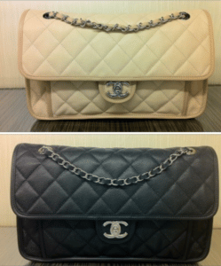 Chanel Ivory and Black French Riviera Medium Flap Bags