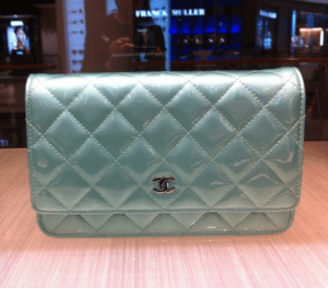 Chanel Light Blue Patent Classic Quilted WOC Bag