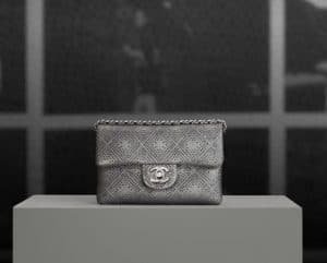 Chanel Silver Perforated Mini Flap Bag - Pre spring 2013