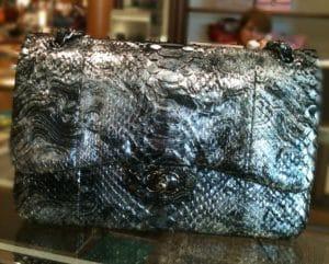 Chanel Silver Python Classic Jumbo Flap Bag