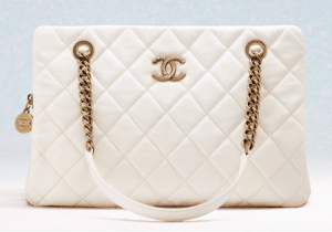 Chanel White CC Crown Tote Small Bag