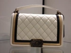 Chanel White Quilted Boy Bag