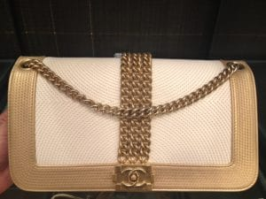 Chanel White and Gold Boy Rock Bag - Cruise 2013