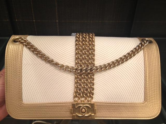 Chanel Boy Bag White Chanel White And Gold Boy Rock