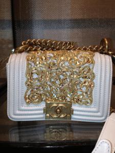 Chanel White:Gold Boy Bag