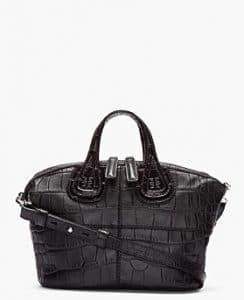 Givenchy Black Printed Croc Nightingale Mini Bag