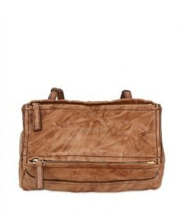 Givenchy Brown Washed Leather Pandora Mini Bag