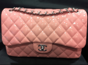Chanel Pink Patent Classic Jumbo Flap Bag