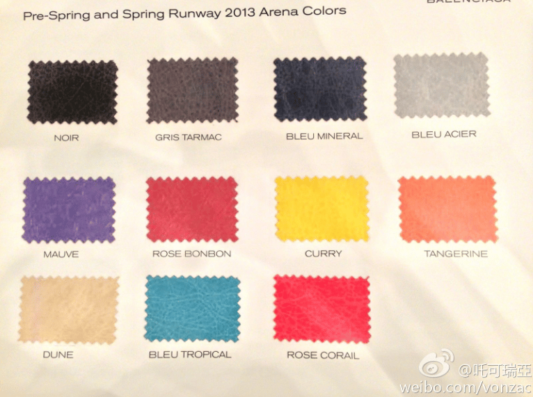Balenciaga Spring 2013 Color Chart Reference Guide Spotted Fashion