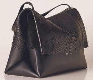 Celine Black Python All Soft Tote Bag