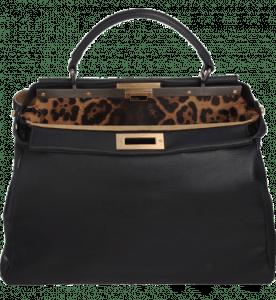 Fendi Black Leopard-Lined Peekaboo Large Bag