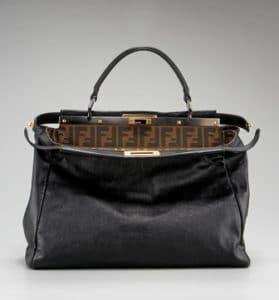 Fendi Black Zucca-Lined Peekaboo Medium Bag