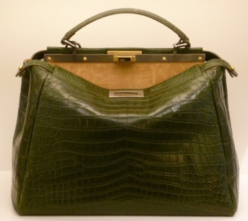 9182121402e0 Fendi Dark Green Croc Peekaboo Large Bag