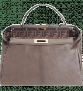 Fendi Greige Zucca-Lined Peekaboo Large Bag