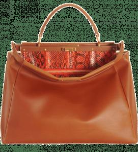 Fendi Honey:Orange Snakeprint-Lined Peekaboo Large Bag 2